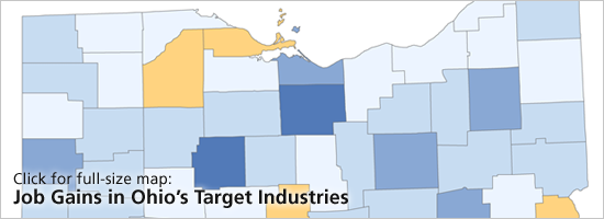 Click for full-size map: Job Gains in Ohio's Target Industries