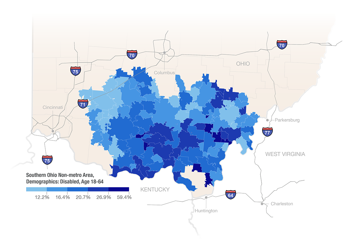 Southern Ohio Non-Metro Area, Demographics: Disabled Age 18-64